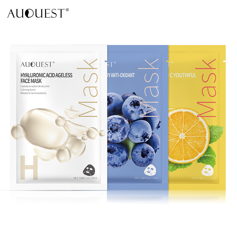 11.11 AuQuest Food Sheet Masks Facial Vitamin Collagen Natural Fruit Hyaluronic Acid Serum Face Mask Moisturizer Skin Care 3PCS