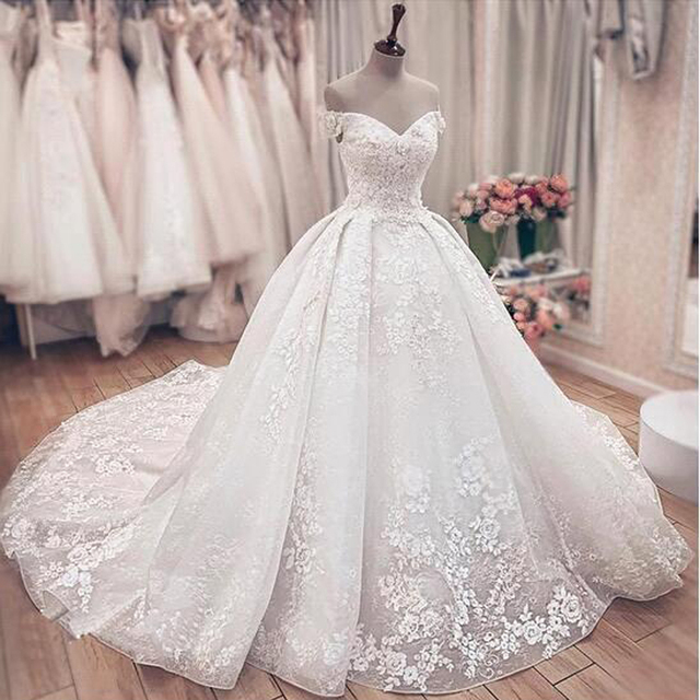 Gorgeous, Lacy, Off The Shoulder Ball Gown Style, Wedding Dress