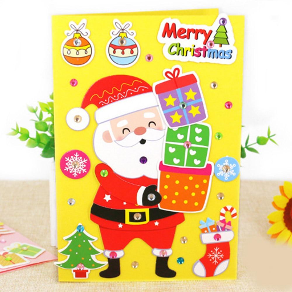 5 Pcs Children DIY Handmade Christmas Card Kindergarten Baby Santa Claus 3D Greeting Card Craft Educational Toy Gift