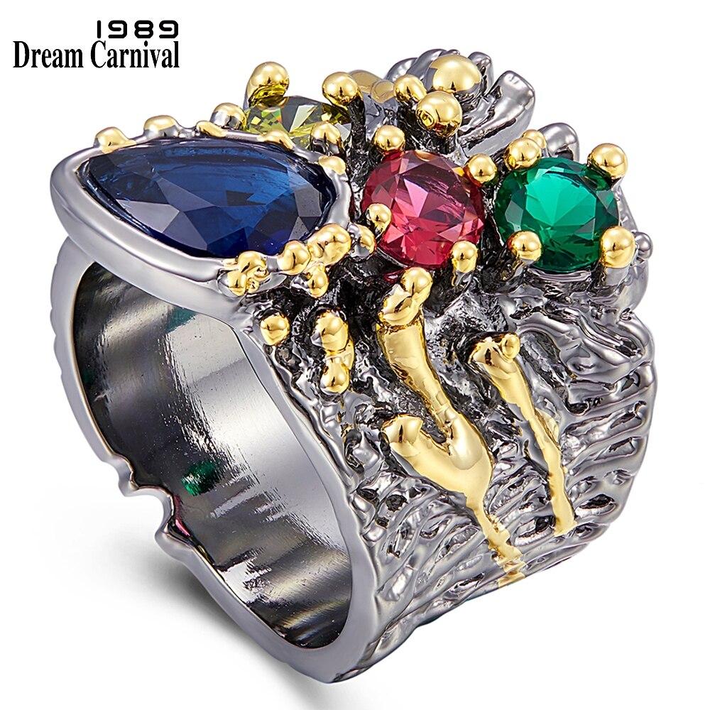 Anel para o Casamento Exagerada Personalidade Colorido Zircão Feminino Noivado Jóias Design Grosso Anéis Wa11757 Dreamcarnival1989