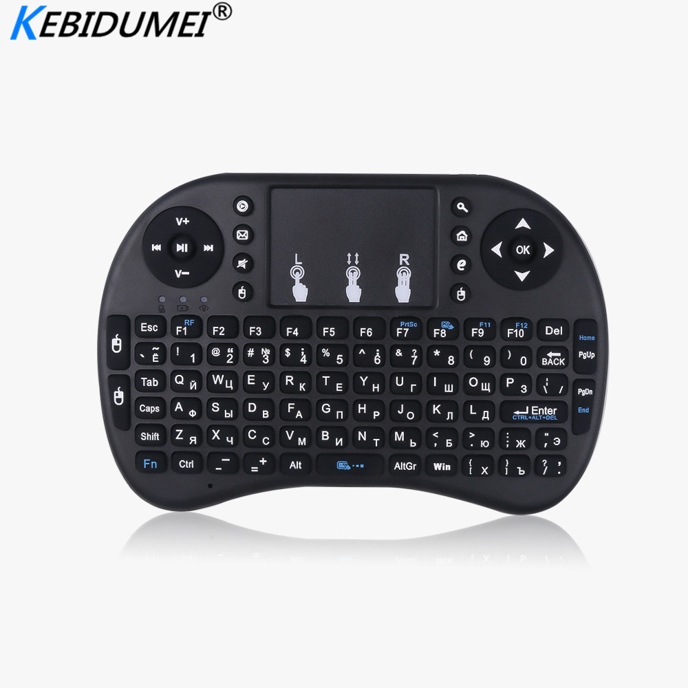 Kebidumei 3 Color Li-battery Backlit I8 Mini English Russian Wireless Keyboard Mouse 2.4ghz Keyboard For Laptop TV With Touchpad