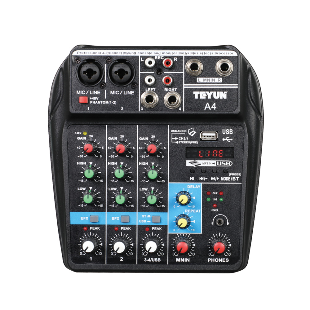 Wireless 4-channel Audio Mixer Portable Sound Mixing Console USB Interface MP3 Computer Input 48V Phantom Power Monitor for Home 1