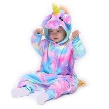 Kids Unicorn Kigurumis Onesie Pajama Galaxy Pegasus Children Sleepwear Cartoon Flannel Girl Boy Party Homewear Jumpsuit Onepiece