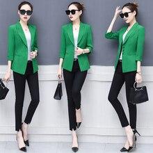 Оранжевые, зеленые, черные, белые элегантные пиджаки и куртки Осенняя Офисная Женская верхняя одежда корейские женские блейзеры с рукавами 3/4 s-xxl