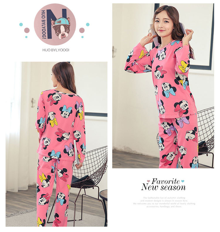 Wholesale Pajamas Sets Spring Autumn 22 Style Thin Carton Generation Women Long Sleepwear Suit Home Women Gift Female Sleepwear 35