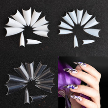 finished Manzilin Nail Tips French Pointed Nail Patch Fake Nail Piece Finished 500 Pieces