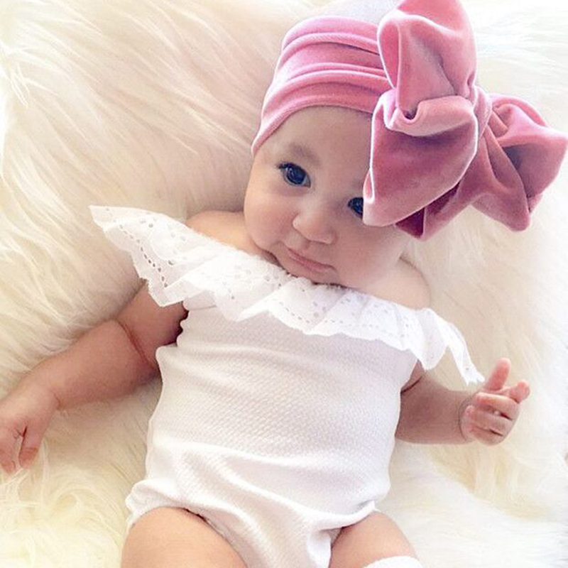Newborn Baby Knot Toddler Pearl Lace Headband Bowknot HeadWrap Hairband