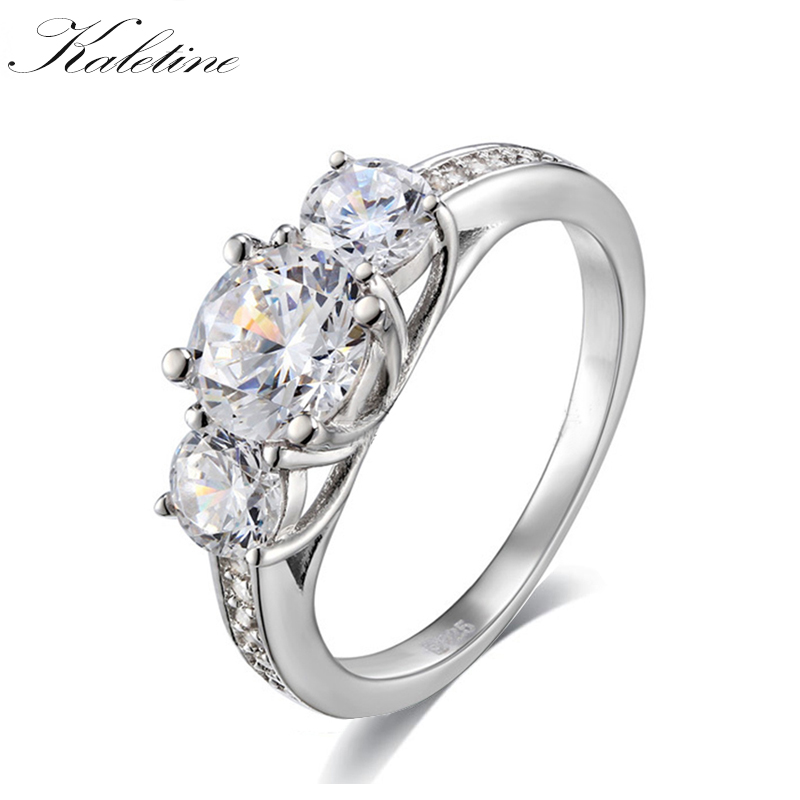 Kaletine 925 Sterling Silver Jewelry Classic Engagement Rings For Women Men 6.5mm Heart and Arrows 1 Carat CZ Three Stone Ring