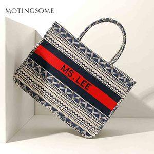Image 3 - Women Tote Bag Striped High Quality Canvas Shoulder Bag Luxury Shopper Large Bag Bohemian National Style Handbag for Lady 2019