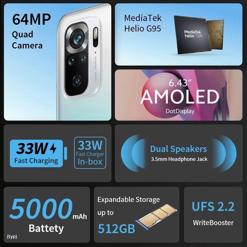 Globale Version Xiaomi Redmi Note 10 S 6GB 64GB/128GB Smartphone 10 S 64MP Quad Kamera helio G95 AMOLED DotDisplay 33W 5000mAh 4