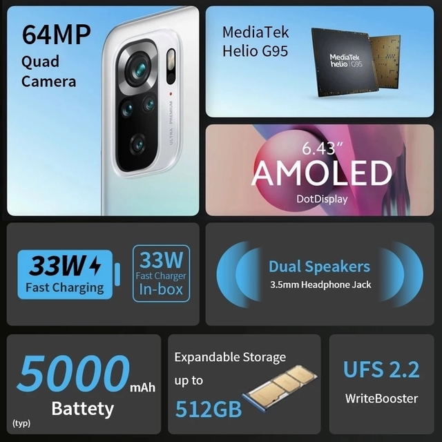 Global Version Xiaomi Redmi Note 10S 6GB 64GB/128GB 10S Smartphone  64MP Quad Camera Helio G95 AMOLED DotDisplay 33W Fast Charge 4