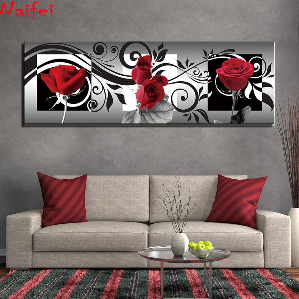 Large size 5D Round Diamond Painting Black and White Red Rose Full Square Flowers Embroidery Mosaic Cross Stitch Handmade Gift