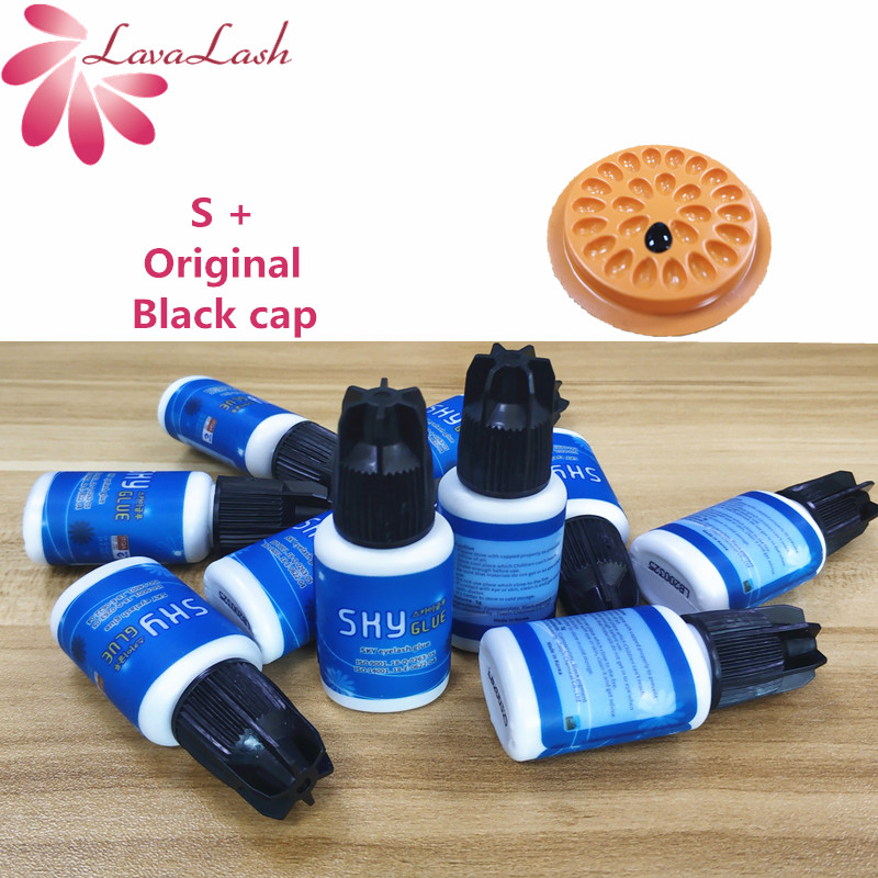 Free Shipping Most powerful 10 pieces/lot fast drying Sky Glue for eyelash extensions S+,5ml Black Lid(China)