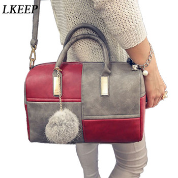 Fashion Women Handbag Boston Patchwork PU Leather Bag Feminina Luxury Pillow Elegant Shoulder Tote Crossbody Bags
