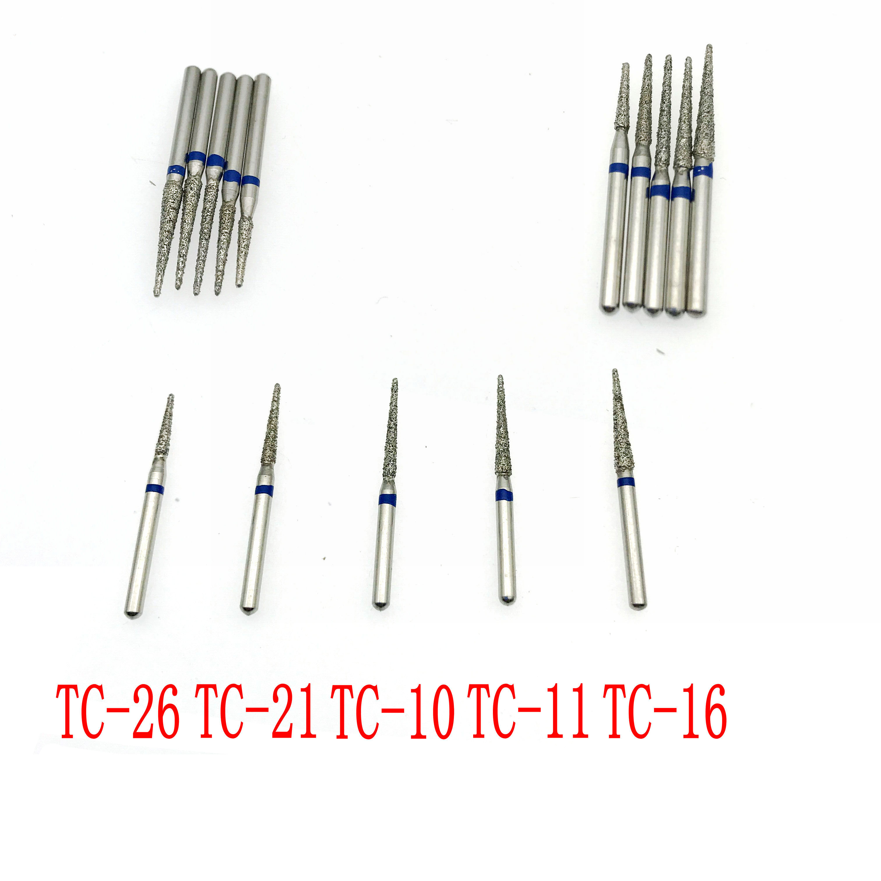 50pcs Dental Diamond Burs TC Series Dental High Speed Handpiece Burs TC26/TC21/TC10/TC11/TC16