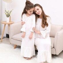 Bahar yaz % 100% pamuk kız giyim bayanlar kızı ebeveyn çocuk uzun beyaz öğrenciler kore prenses gecelik pijama