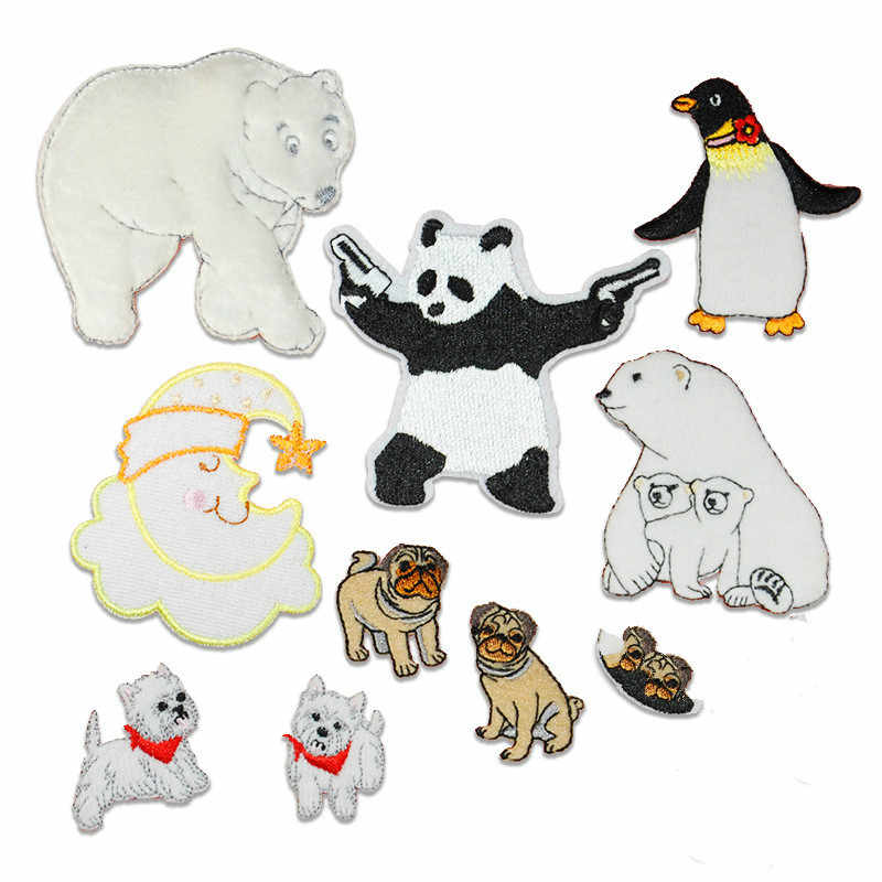 Cartoon Panda Bear Animals Patch Stickers for Clothes DIY T-shirt Iron on Embroidered Patch for Backpack Jacket Badge Appliques