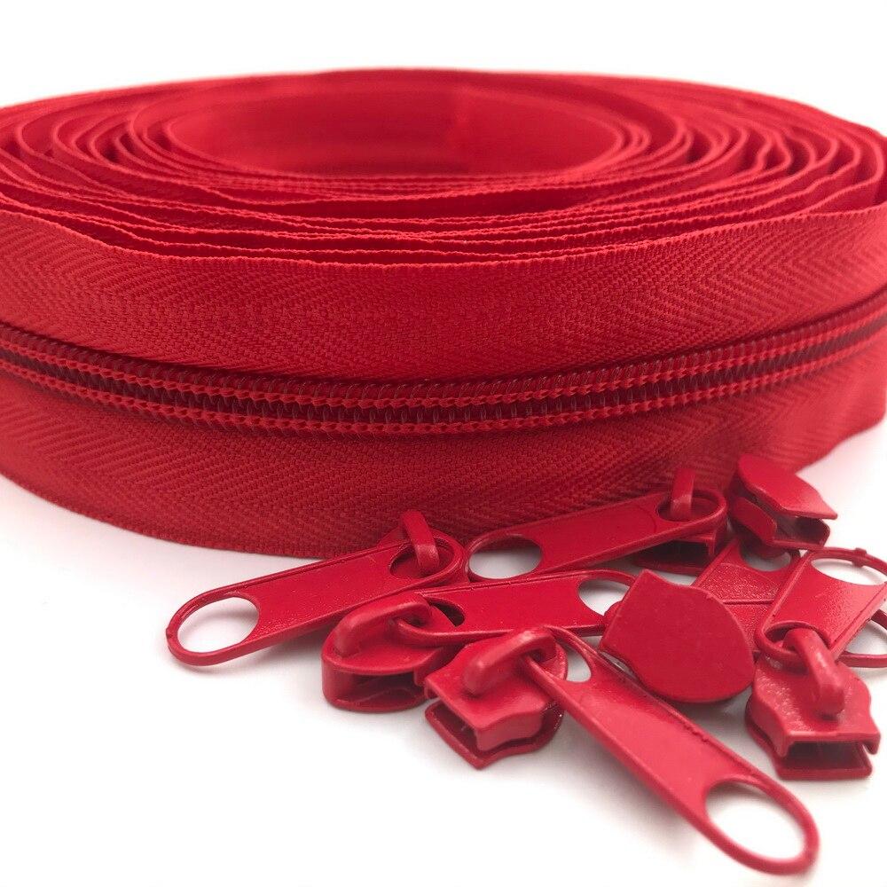 #5 5 метров 24 цвета нейлоновые молнии на дворе с 10 слайдерами для DIY шитья портных ремесел сумок