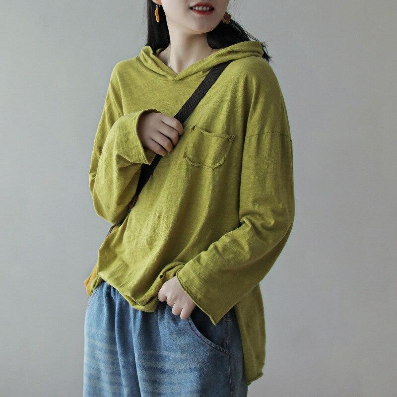 Женская рубашка с капюшоном и дырками из бамбукового хлопка, модная Повседневная Блузка с длинным рукавом и карманом для весны и лета 2020|Блузки и рубашки|   | АлиЭкспресс