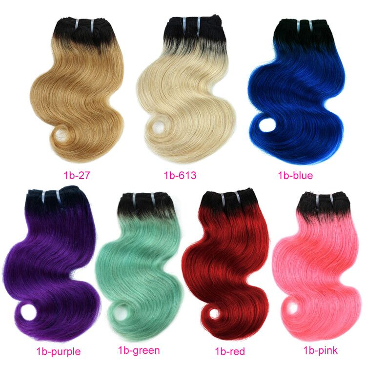 Real Beauty Ombre Blond Red Blue Pink Brazilian Body Wave Hair Weave 50G Bundles Human Hair Extensions Remy Hair Short Bob Style