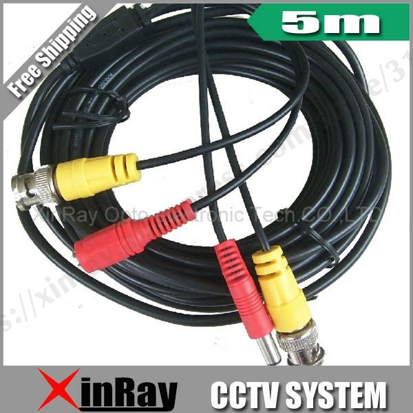 Free Shipping, 5M BNC Power Video Plug And Play Cable For CCTV Camera XR-C2.