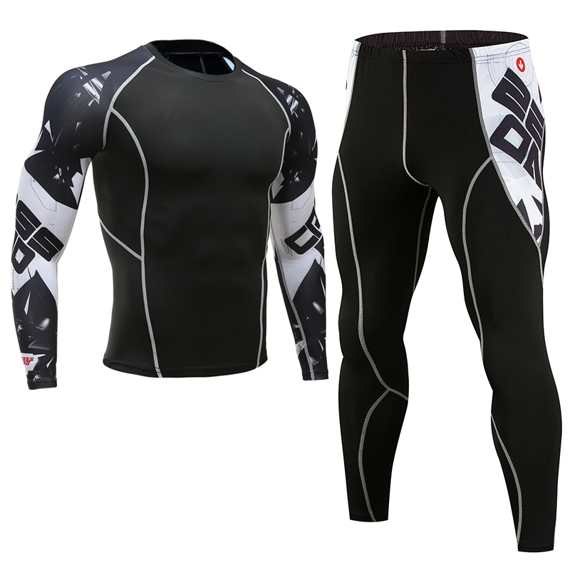 Men's Clothing Compression Men T-shirt + Leggings Rashgard Kit Long Sleeves Top For Fitness Man Tracksuit