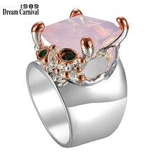 DreamCarnival1989 Recommend Solitaire Women Wedding Rings Pink Cubic Zircon Top Brand Fashion Jewelry Silver Gold Color WA11708
