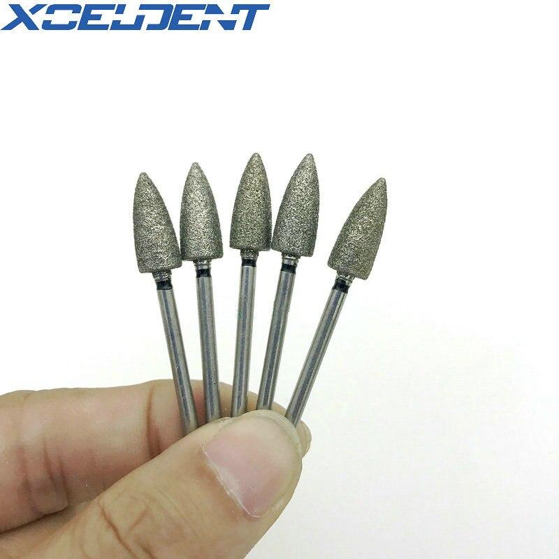 10pcs Dental Diamond Grinding Bur Drill Bits Sets 2.35mm Shank For Dental Grinding Needle Shape SF60 Dentistry Polishing Burs