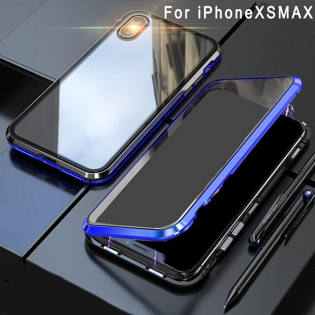 اثنين من جانب الزجاج المقسى حقيبة هاتف محمول الامتزاز المغناطيسي غطاء مقاوم للصدمات EM88