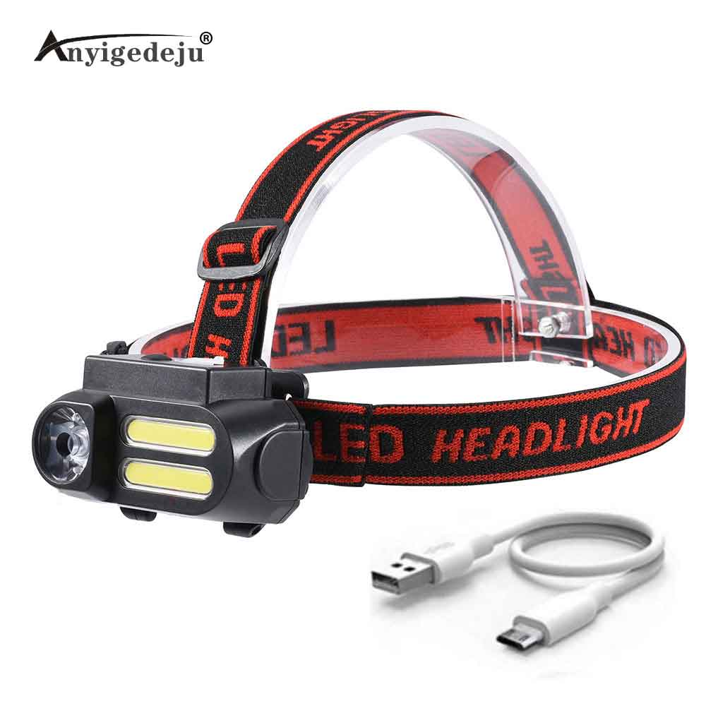 Mini COB LED Headlight Headlamp Head Lamp Flashlight USB Rechargeable 18650 Flash Torch Camping Hiking Night Fishing Light