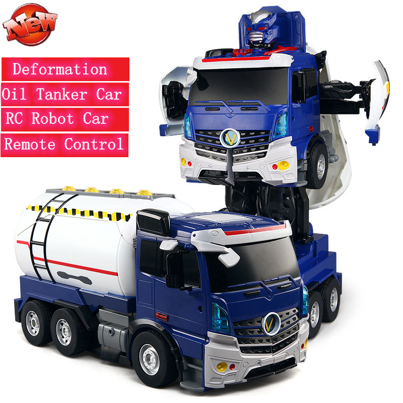 One Key Deformation RC Truck Oil Tanker Robot Car Remote Control Stunt Car Smart Voice Control Toy With LED Light Sound effect