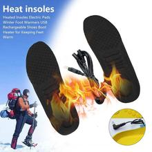 Можно отрезать 1 пару USB стельки с подогревом для ног, согревающие стельки для ног, теплые носки для ног, Зимние Стельки для спорта на открытом воздухе, Теплые Зимние Стельки