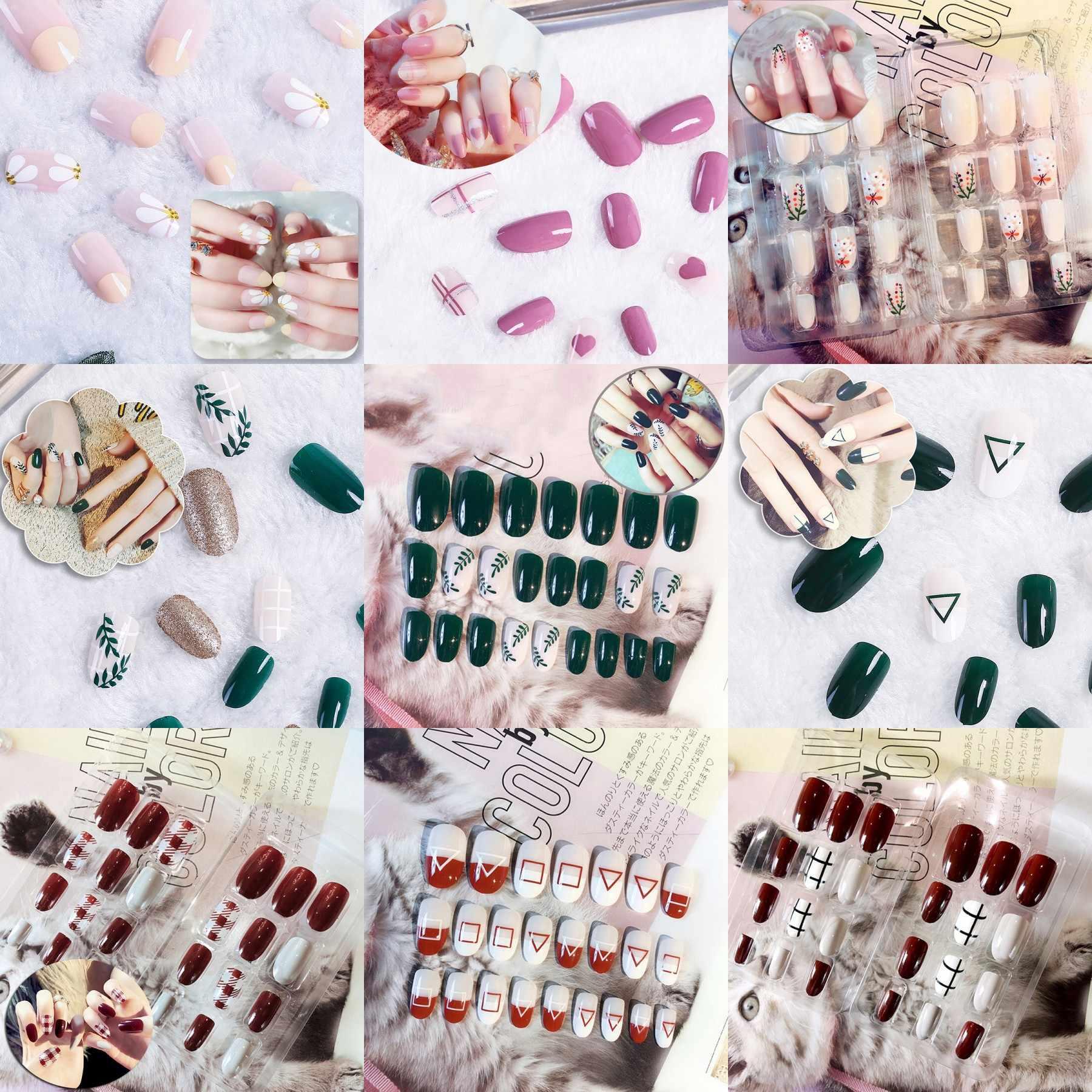 24 pièces faux ongles conseils artificiels faux conseils couverture complète presse courte sur ongles Art vernis ongles Patchwork avec ensemble d'autocollants