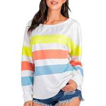 Echoine Women t shirt Stitching contrast color loose female T-shirt autumn striped shirt streetwear Long sleeve fashion tops contrast vertical striped shirt
