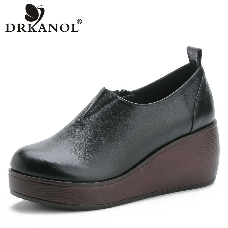 DRKANOL Autumn Classic Black Round Toe Pumps Women Wedges Shoes Side Zipper Genuine Leather High Heel Platform Casual Shoes