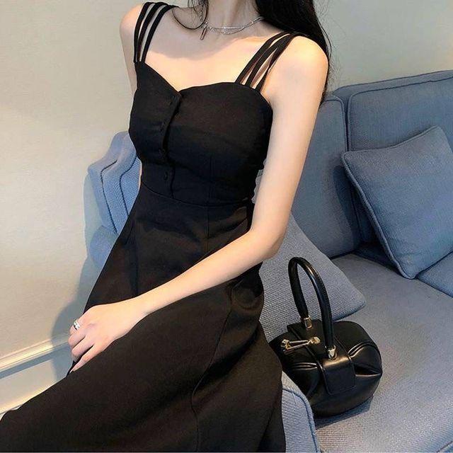 2021 summer new black fashion temperament slim slim dress sexy suspender dress long strapless dress 6