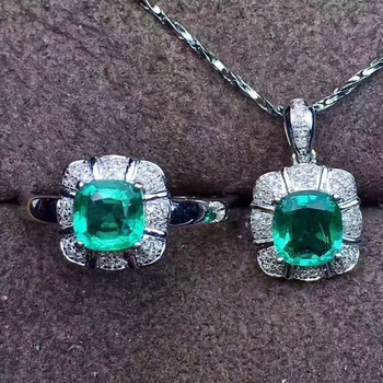 new style natural emerald  women jewelry green emerald  ring necklace  jewelry set 925 silver square gem certified birthday gift