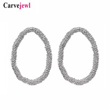 Carvejewl big stud earrings irregular beaded oval circle for women jewelry girl gift unique fashion European