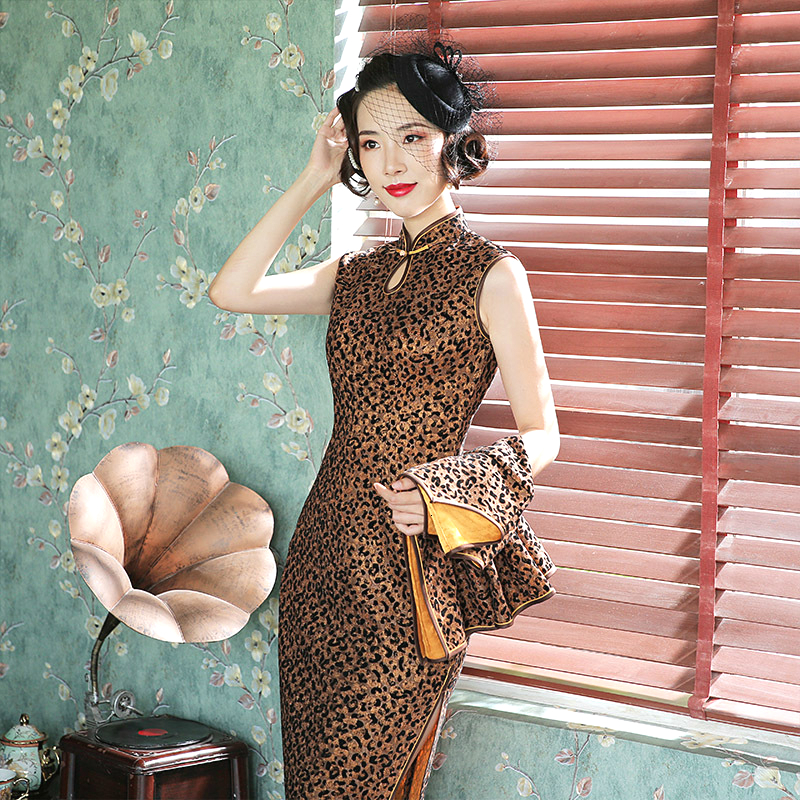 2 Pcs Women Clothing Sleeveless Velour Leopard Qipao Long Sleeve Tops Knee Length Cheongsam Dress Sexy Banquet Suit-dress Female