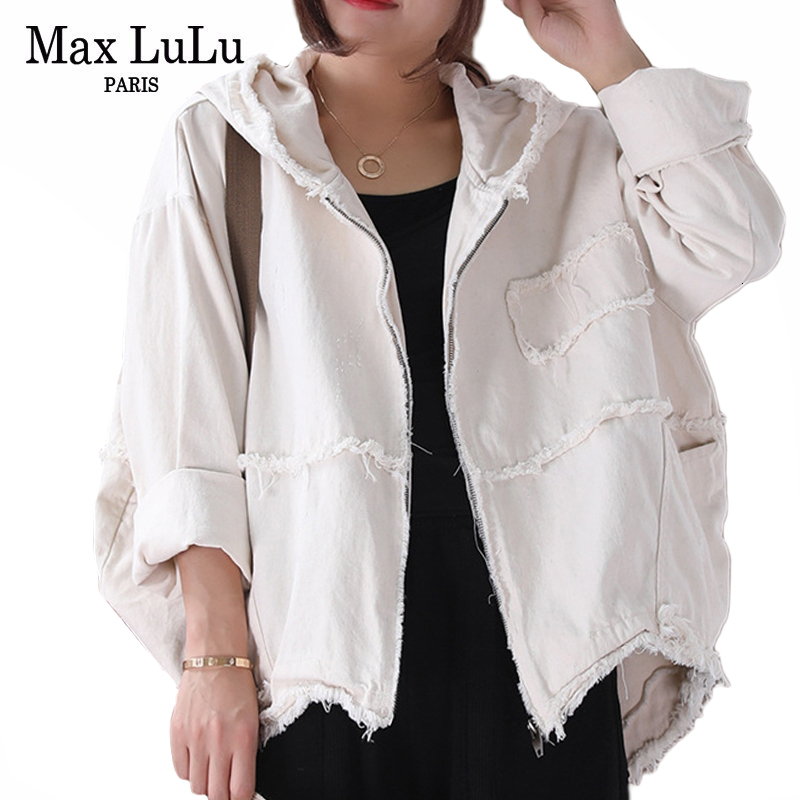 Max LuLu 2019 Fashion Korean Punk Streetwear Ladies Hooded Clothes Womens Vintage Autumn Jackets Oversized Denim Coats Plus Size