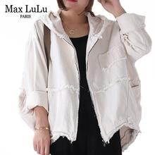 Max LuLu 2019 Fashion Korean Punk Streetwear Ladies Hooded Clothes Womens Vintage Autumn Jackets Oversized Denim Coats Plus Size