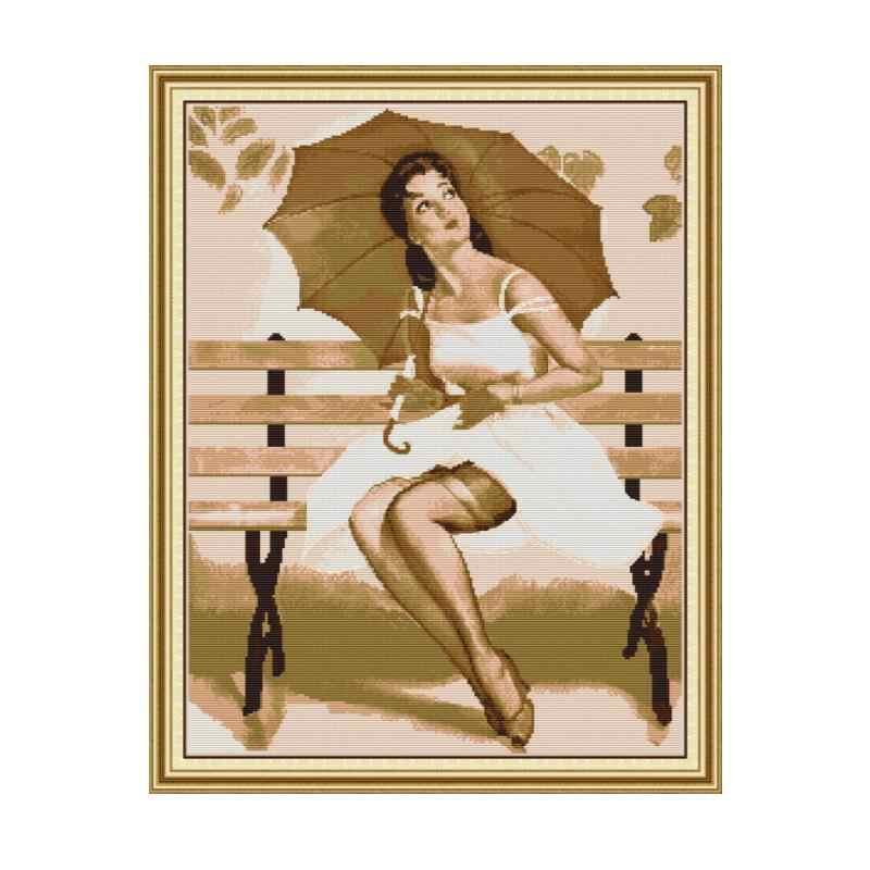女性で傘クロスステッチ刺繍パターン 14CT 11CT プリント生地 DIY ハンドメイド刺繍セットの家の装飾工芸品