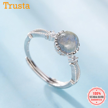 Finger-Ring Moonstone-Opening S925 Jewelry Wedding-Party 925-Sterling-Silver Fashion