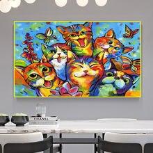 Милая акварельная картина на холсте с изображением котенка цветная