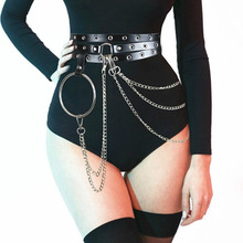 Sexy Pub Female Leather Skirt Belts Punk Gothic Ro