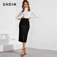 SHEIN Black Slit Hem Pencil Denim Skirts Womens Spring Autumn High Waist Zipper Solid Fitted Ladies Casual Long Skirt
