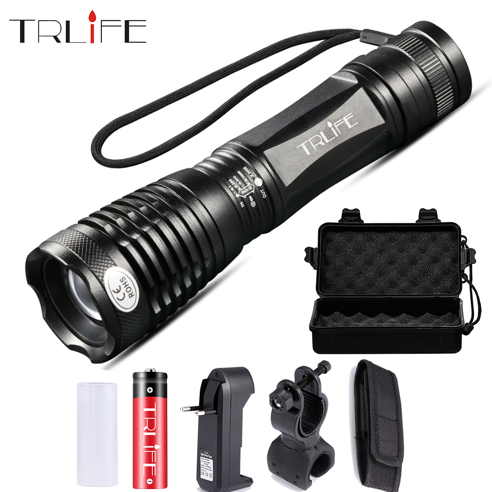 LED Flashlight Adjustable Focal Lamp T6 Rainproof Tactical Torch For Camping Light Use Rechargeable 18650 Battery