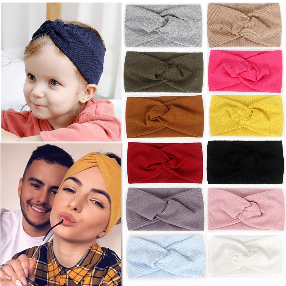 baby-headband-mommy-twist-hairband-for-women-girls-turban-mother-daughter-hair-accessories-cotton-newborn-head-wrap-2pcs-set