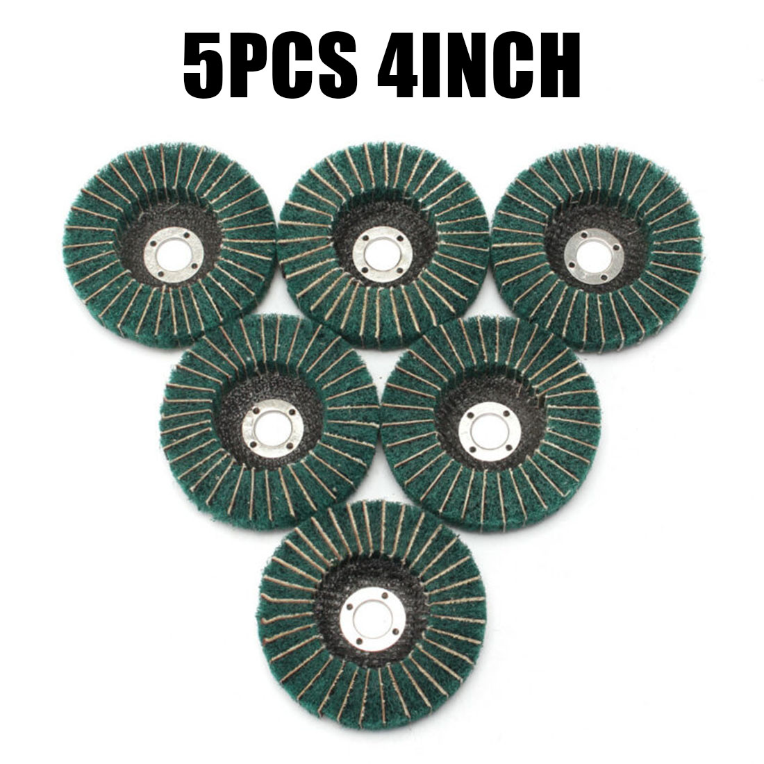 5Pcs 4inch Nylon Fiber Flap Wheel Disc 100mm Abrasive Polishing Buffing Pads High Grinding Efficiency
