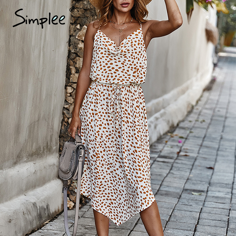 Simplee Bohemian Dot Print Summer Dress Women Lace Up Waist Female Midi Dress A-line Holiday Wear Asymmetrical Ladies Dress 2020